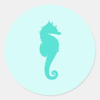 Turquoise Seahorse Classic Round Sticker