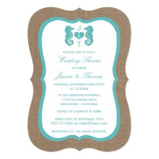 "Turquoise Seahorse On Burlap Beach Wedding Shower 5"" X 7"" Invitation Card"