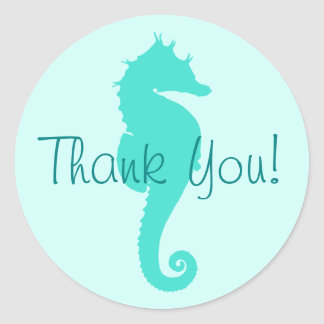Turquoise Seahorse Thank You Classic Round Sticker