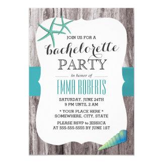 "Turquoise Seashells Beach Theme Bachelorette Party 5"" X 7"" Invitation Card"