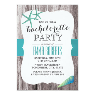 "Turquoise Seashells Beach Theme Bachelorette Party 5"" X 7"" Invitation Card"