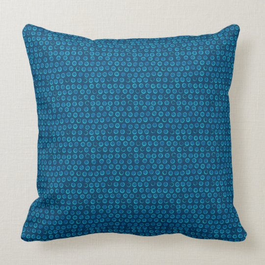 Turquoise Sequin Dots Blue Pattern Throw Pillow