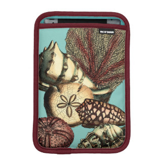 Turquoise Shell and Red Coral Collection iPad Mini Sleeves