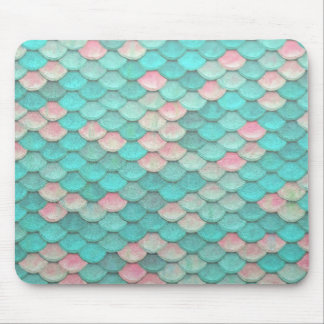 Turquoise Shiny Fish Scales Effect Pattern Mouse Pad