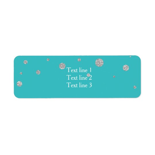 Turquoise & Silver Glitter Card Address Labels