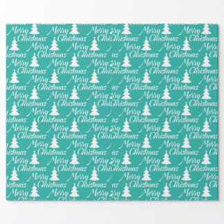 Turquoise Simple Christmas Tree Wrapping Paper