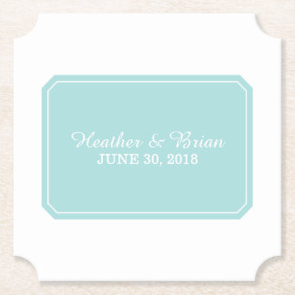 Turquoise Simply Elegant Wedding Paper Coaster