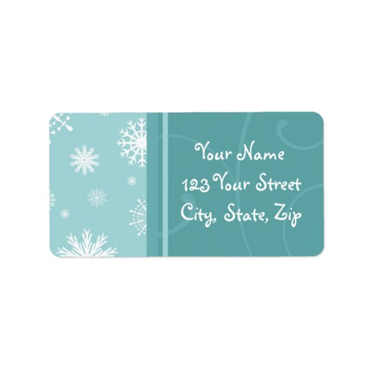 Turquoise Snowflakes Christmas Address Labels