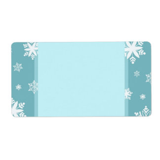 Turquoise Snowflakes Christmas Labels