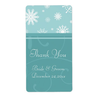 Turquoise Snowflakes Christmas Wedding Labels