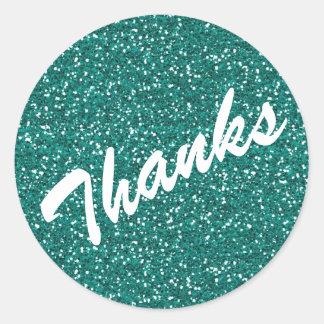 Turquoise Sparkle Thanks Sticker