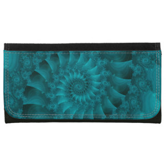 Turquoise Spiral Fractal Leather Wallet