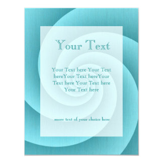 Turquoise Spiral in brushed metal texture 4.25x5.5 Paper Invitation Card