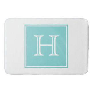 Turquoise Square Monogram Bath Mat