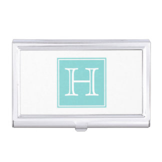 Turquoise Square Monogram Business Card Holder