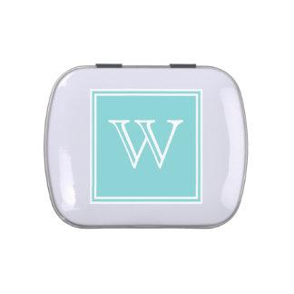 Turquoise Square Monogram Candy Tin