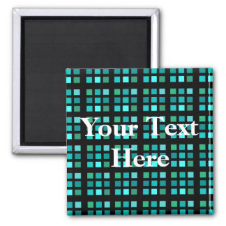 Turquoise Squares Pattern Magnet