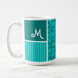 Turquoise Squares; Retro Square Mug