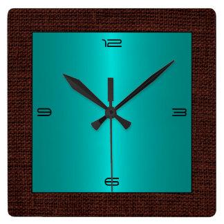Turquoise Stainless Steel Modern Burlap Border Clocks