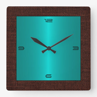 Turquoise Stainless Steel Modern Burlap Border Square Wall Clock