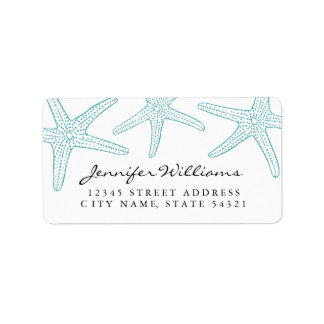 Turquoise Starfish Address Label