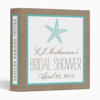 Turquoise Starfish Beach Bridal Shower Recipe 3 Ring Binder