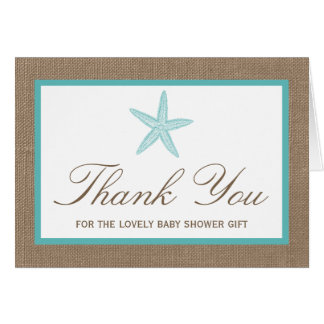 Turquoise Starfish Burlap Beach Baby Shower Card