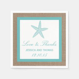 Turquoise Starfish Burlap Beach Wedding Collection Paper Napkin