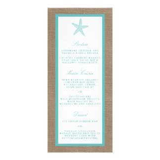 Turquoise Starfish Burlap Beach Wedding Collection Rack Card Design