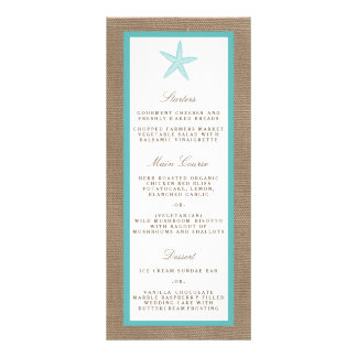 Turquoise Starfish Burlap Beach Wedding Collection Rack Card Template