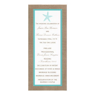 Turquoise Starfish Burlap Beach Wedding Collection Custom Rack Cards