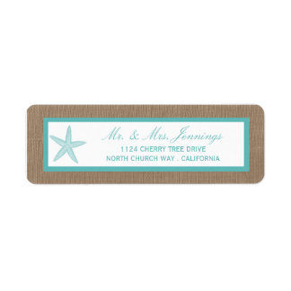 Turquoise Starfish Burlap Beach Wedding Collection Return Address Label
