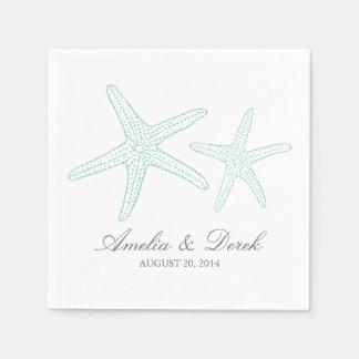Turquoise Starfish Cocktail Napkins