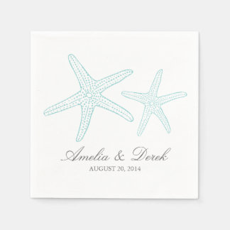 Turquoise Starfish Cocktail Napkins Paper Napkin