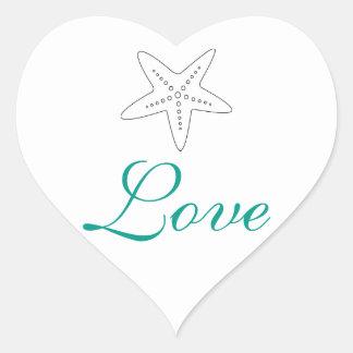 Turquoise Starfish Love Stickers
