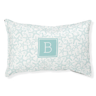Turquoise Starfish Monogram Pet Bed