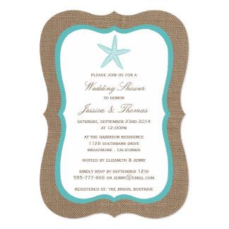 "Turquoise Starfish On Burlap Beach Wedding Shower 5"" X 7"" Invitation Card"