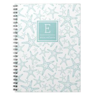 Turquoise Starfish Pattern Personalized Notebooks
