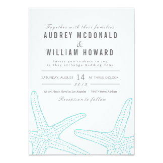 Turquoise Starfish Wedding Invite