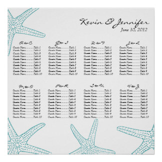 Turquoise Starfish Wedding Seating Chart