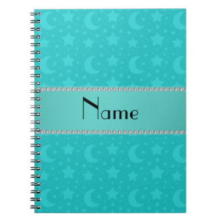 Turquoise stars and moons personalized name notebooks