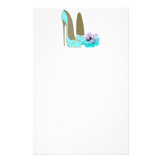 Turquoise Stiletto and Rose Art Stationery