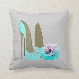 Turquoise Stiletto Shoes and Rose Art Pillow