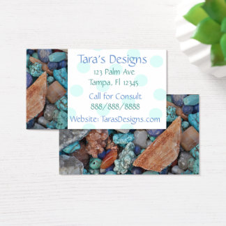 Turquoise Stones Teal Dots Business Cards