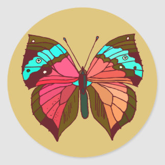 Turquoise Striped Butterfly Classic Round Sticker