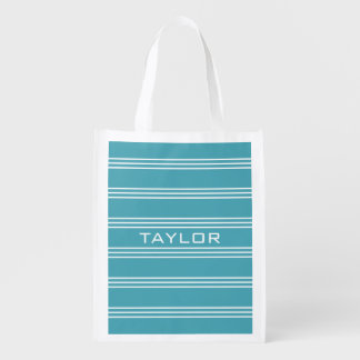 Turquoise Stripes custom monogram reusable bag Reusable Grocery Bags