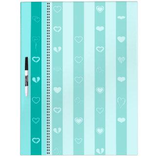 Turquoise Stripes Modern Heart Pattern Dry Erase Board