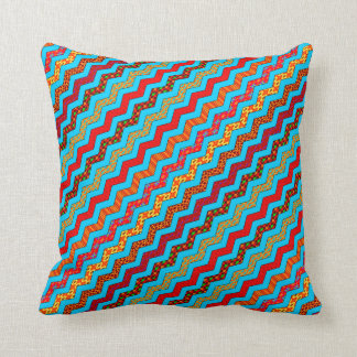 Turquoise Stripes Zig Zag Geometric Designs Color Throw Pillow