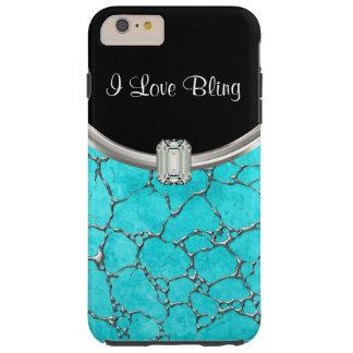 Turquoise Stylish Bling Tough iPhone 6 Plus Case