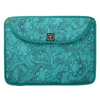 Turquoise Suede Leather Look-Retro Floral Pattern Sleeve For MacBook Pro